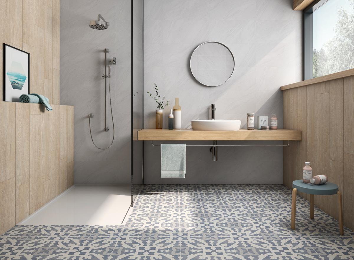 Salle De Bain Motif schelfhout - inspiration carrelage – salle de bain