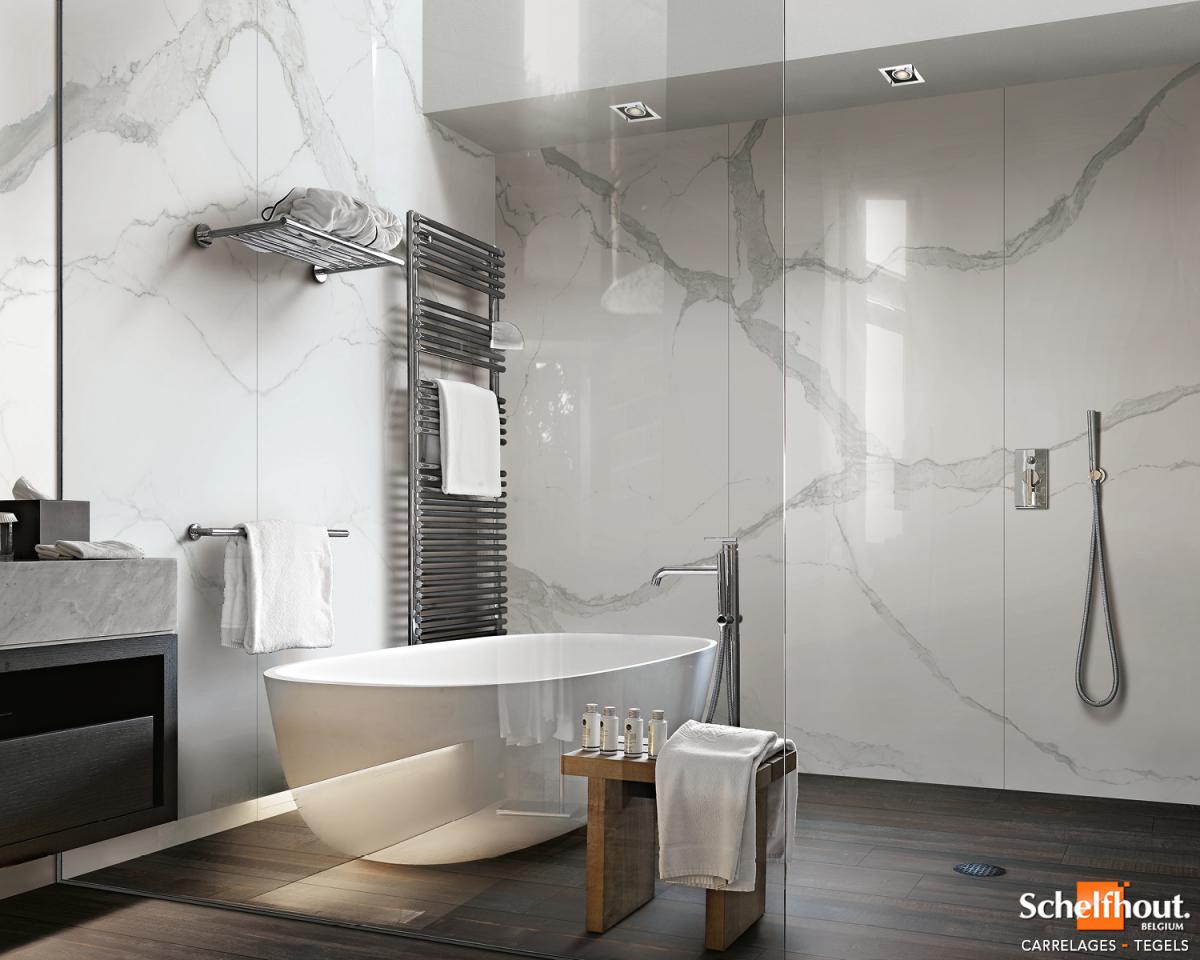 Salle De Bain Marbre De Carrare schelfhout - carrelages sol et mur intérieur – effet marbre