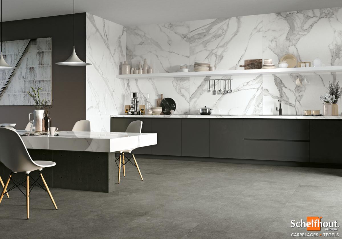 Credence Cuisine Marbre Blanc schelfhout - carrelages sol et mur intérieur – effet marbre