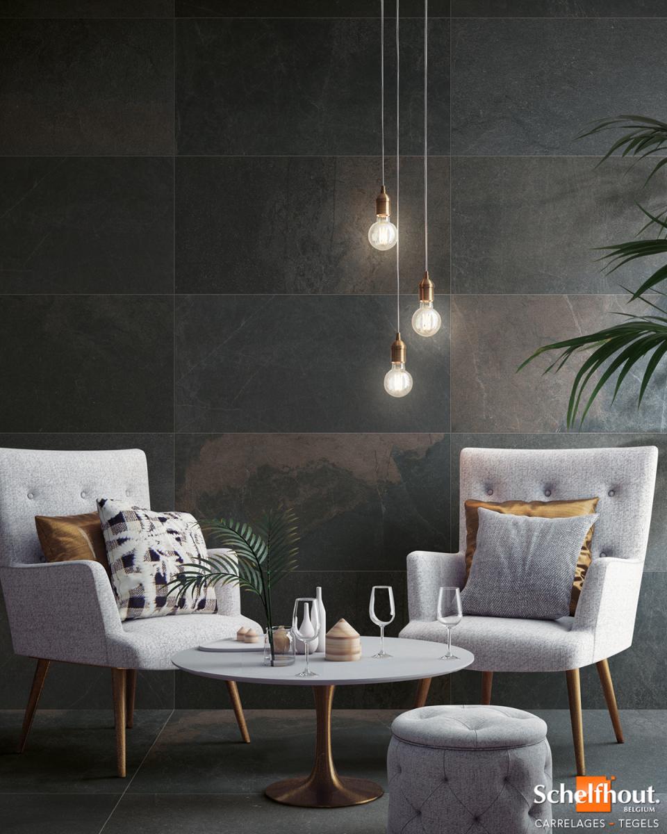 Deco Carrelage Salon Sejour schelfhout - carrelages effet métal – look industriel chic